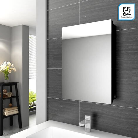 Illuminated Bathroom Mirror Cabinet with Lights and Shaver Socket Wall Mounted LED Bathroom Mirror with Shelf 500mm