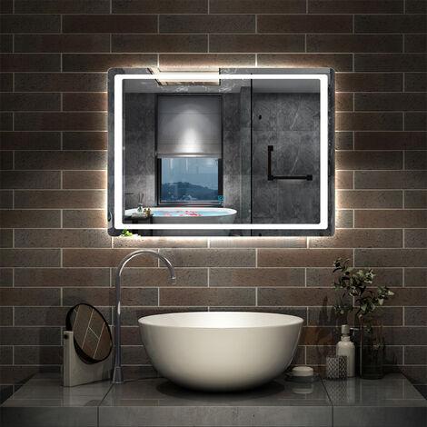 "main image of ""Illuminated Bathroom Mirror with Demister Over Bathroom Sink White LED Light"""