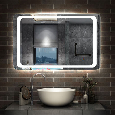 Illuminated Bathroom Mirror with Demister Over Bathroom Sink White LED Light