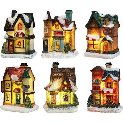 """main image of """"Illuminated Christmas Village, Illuminated Christmas House, Christmas Village Character Lamp Multicolor Deco Noel Miniature Indoor (6pc Set, 4 * 6.5 * 9cm)"""""""