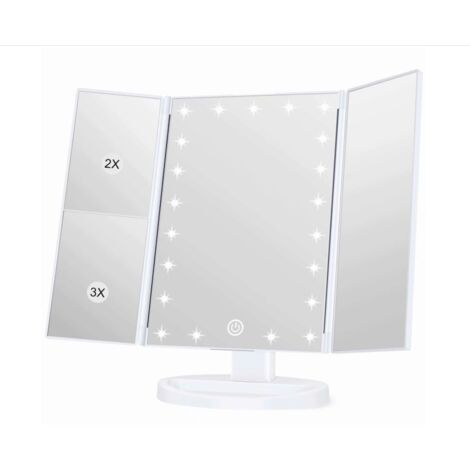 Illuminated courtesy mirror, magnification 1x / 2x / 3x, folding courtesy mirror, female, USB charging function, 180 degree adjustable support for kitchen counter courtesy mirror (white pearl)