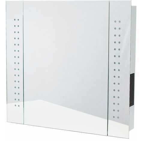 Illuminated IP44 Battery Operated Bathroom Wall Mirror Shelved Cabinet