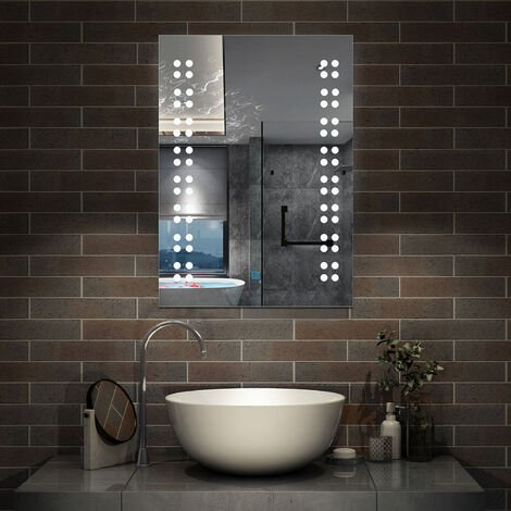Illuminated LED Bathroom Mirror Demister Opitonal Mains Power Touch Switch Vertical Modern