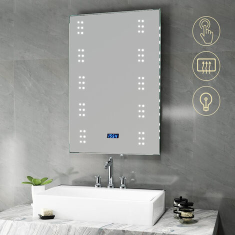 """main image of """"Illuminated LED Bathroom Mirror with Lights Shaver Socket Demister and Sensor Wall Mounted 700x500MM"""""""