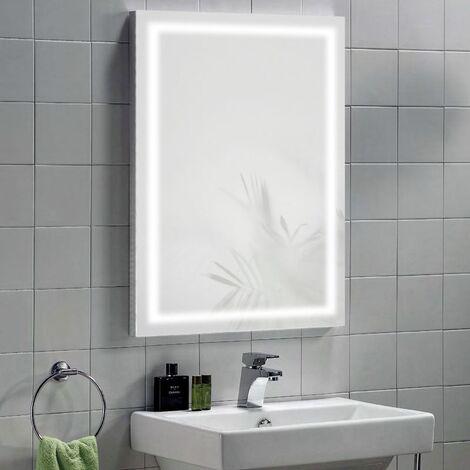 Illuminated Mirror with IR Switch, LED Clock, Shaver & Demister - Vega by Voda Design