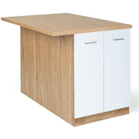 Ilot central IVO 120 cm bois façon hêtre portes blanches avec plan de travail