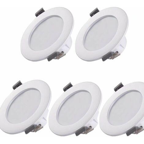 ILoveManoMano 5 spots LED pour salle de bain, IP44 ultra-plat 25mm, Ø85mm, blanc, plafonnier encastré, panneau LED 5W, 460Lm, blanc neutre 4000K