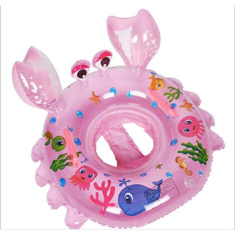 ILoveManoMano Anneau de natation bébé, siège de piscine crabe, anneau de natation gonflable, cadeau jouet piscine bébé adapté aux bébés de 6 à 48 mois, rose