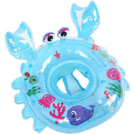 ILoveManoMano Anneau de natation bébé, siège de piscine crabe, anneau de natation gonflable, cadeau jouet piscine bébé adapté pour bébé 6-48 mois, bleu
