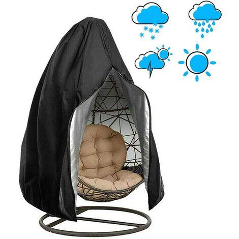 ILoveManoMano Chaise suspendue pour balançoire de jardin en tissu Oxford 210D, housse de protection imperméable et étanche à la poussière et à l'eau, fermeture à glissière au milieu, housse de chaise suspendue, noir, 190x115cm,