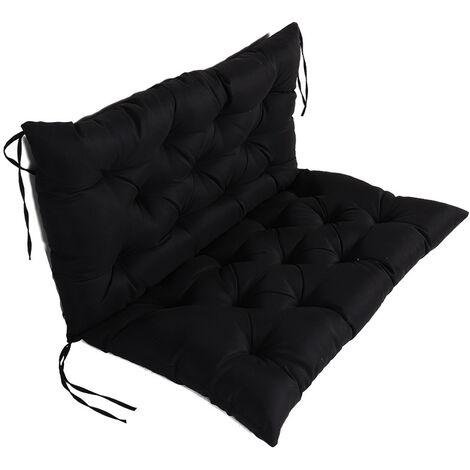 ILoveManoMano Coussin Matelas Assise Dossier pour Banc de Jardin balancelle canapé 1 Places Grand Confort 100 x 100 x 10cm Noir