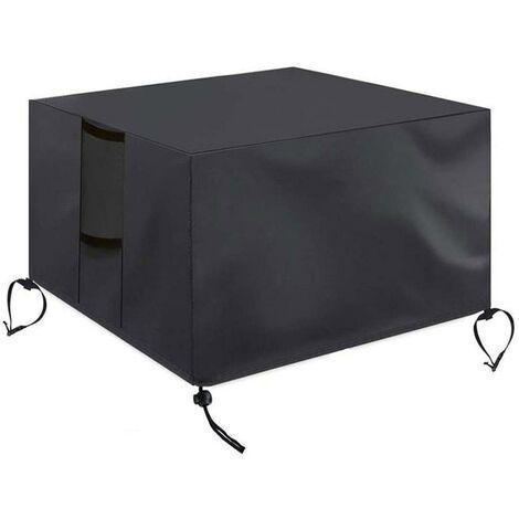 ILoveManoMano Housse de meuble en tissu Oxford Couvercle de foyer carré imperméable coupe-vent anti-uv résistant pour les couvertures de table de meubles de foyer à gaz de patio,82*82*61cm