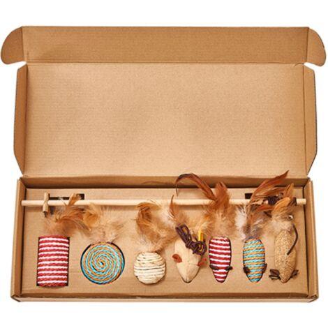 ILoveManoMano Jouet pour chat Combinaison de jouets pour animaux de compagnie Jouet pour chat Ensemble de 7 pièces Cloche Plume Poteau en bois Drôle de chat