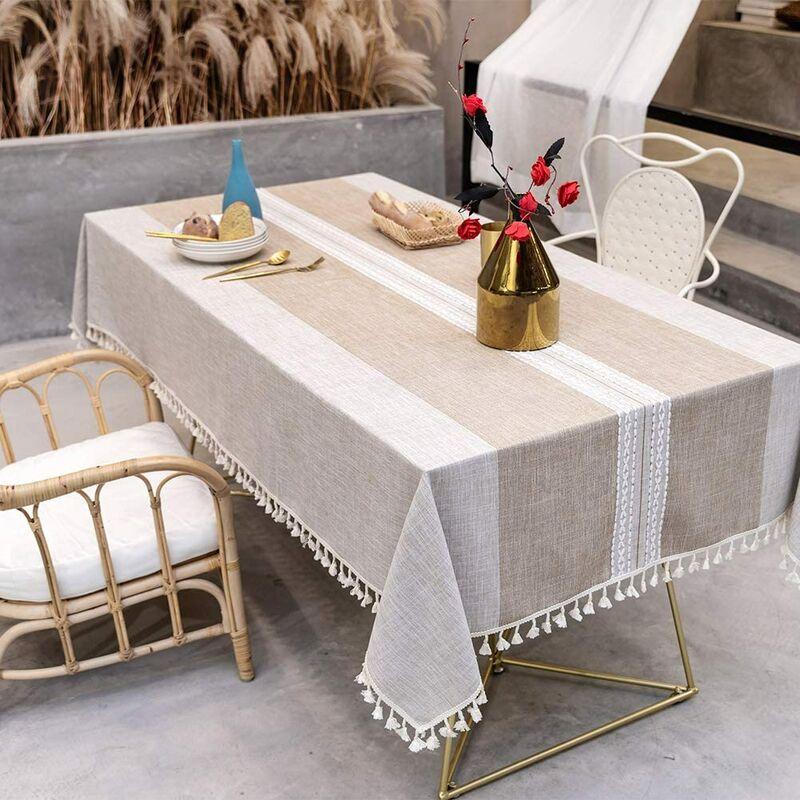 ILoveMilan Nappe anti-poussière épissage, nappe rectangulaire, nappe de décoration de table de cuisine et table basse, (140*240cm, marron)