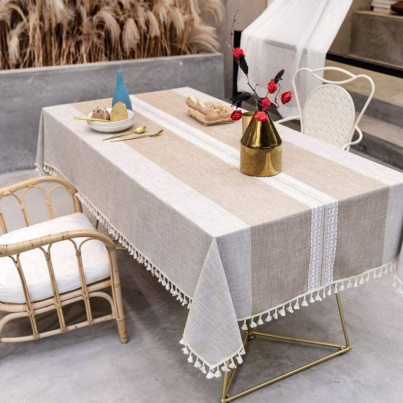 ILoveMilan Nappe anti-poussière épissage, nappe rectangulaire, nappe de décoration de table de cuisine et table basse, (140*260cm, marron)