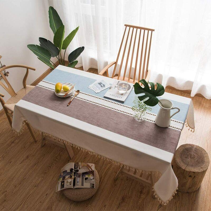 ILoveMilan Nappe d'extérieur rectangulaire, nappe de cuisine, nappe décoration pompon simple (Marron et bleu, 100*140cm)