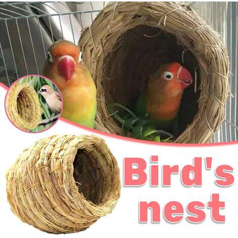 ILoveManoMano Nid d'herbe fait à la main pour perroquets Nid d'oiseau Boîte d'élevage Peau de tigre Pivoine Nid suspendu chaud Nid d'élevage Wenbird