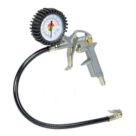 ILoveManoMano Pistolet de gonflage de pneus Voiture Moto Pompe à air électrique pour gonfler les pneus Outil de gonflage avec connecteur Manomètre de pression des pneus