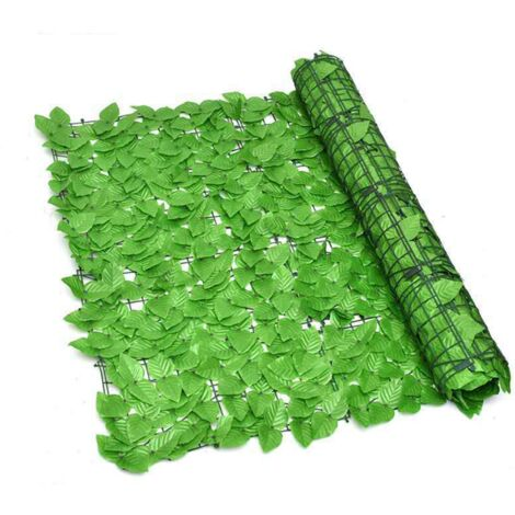 ILoveManoMano Plantes d'imitation Écran de clôture de confidentialité artificielle, clôture de haies artificielles et fausse décoration pour la décoration de jardin en plein air,1m X 1m, Feuille verte vert clair + 100 Pièces serre-câbles