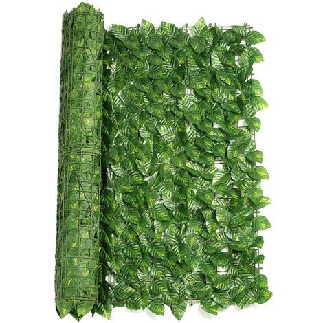 ILoveManoMano Plantes d'imitation Écran de clôture de confidentialité artificielle, clôture de haies artificielles et fausse décoration pour la décoration de jardin en plein air,1m X 3m, Feuille de pastèque + 100 Pièces serre-câbles