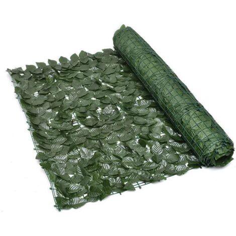 ILoveManoMano Plantes d'imitation Écran de clôture de confidentialité artificielle, clôture de haies artificielles et fausse décoration pour la décoration de jardin en plein air,1m X 3m, Feuille verte vert foncé + 100 Pièces serre-câbles