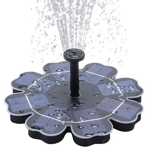 """ILoveManoMano Pompe solaire pour bassin 2,5 W 7,5 """"Fontaine solaire pour bassin Pompes solaires, fontaine avec fonction d'eau extérieure pour bain d'oiseaux, fontaine de jardin, petit bassin et circulation d'eau, 4 têtes de pulvérisation incluses"""