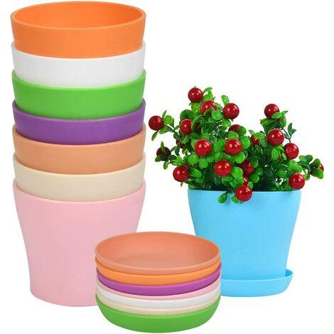 ILoveManoMano Pot de fleur en plastique 8pcs avec soucoupe, pot de fleur de couleur intérieure et extérieure