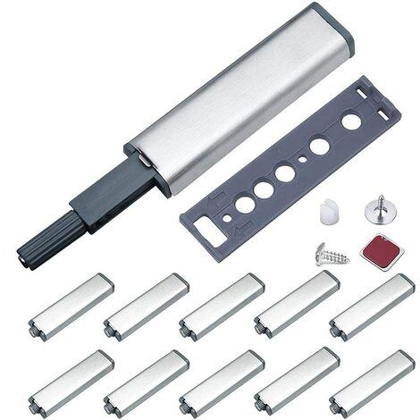 ILoveManoMano Push to Open Aimant Porte Placard Jiayi Métal Loquet Magnetique Push Open Poussoir Placard Fermeture Magnétiques pour Armoire Systeme Push to Open Amortisseur Tiroir (10 Pièces)