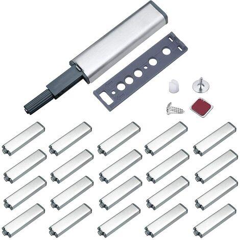 ILoveManoMano Push to Open Aimant Porte Placard Jiayi Métal Loquet Magnetique Push Open Poussoir Placard Fermeture Magnétiques pour Armoire Systeme Push to Open Amortisseur Tiroir (20 Pièces)
