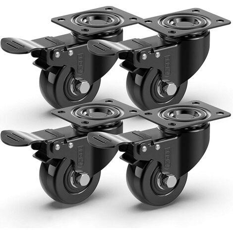 ILoveMilan 4 roulettes pivotantes 50mm | Caucheuses Swing 200kg avec frein | Roues pour meubles lourds pour la table basse chariot