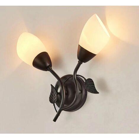 ILoveMilan Applique murale à LED nordique lampe de chevet de pays américain créatif fer Art couloir allée Foyer miroir lampe avant rétro tête unique noir