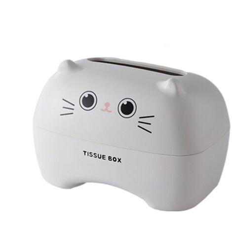 ILoveMilan Boîte à mouchoirs Boîte à mouchoirs cartoon Boîte à mouchoirs multifonctionnelle pour toilettes(Chat blanc