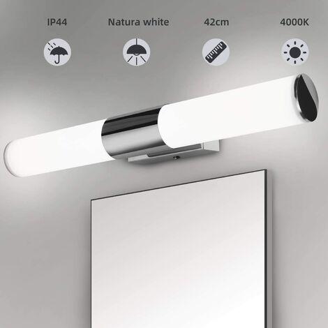 ILoveMilan Miroir de salle de bain applique murale salle de bain plafonnier lampe de maquillage chromé installation de forage gratuit salle de bain LED miroir lampe frontale