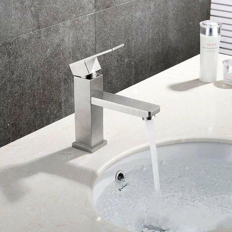 ILoveMilan Robinet de salle de bain en acier inoxydable Robinet monotrou carré haut