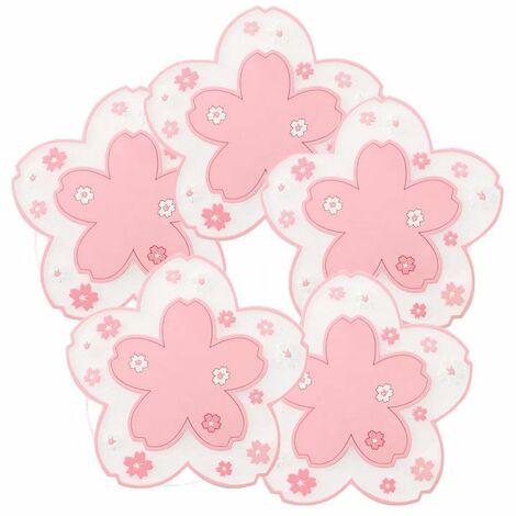 ILoveMilan Sakura Napperon PVC Isolation Thermique Pad Pot Tapis Coaster Personnalisé Thermo-résistant Bol Tapis En Plastique Assiette À Dîner Tapis Rose 5 Pcs
