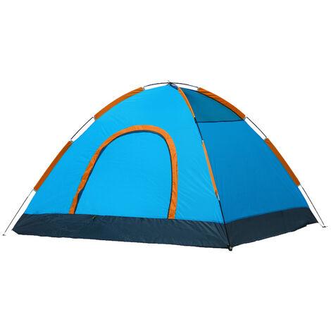 ILoveMilan Tente de Camping Ultra-Légère pour 2-3 Personnes Facile à Installer avec Sac de Transport Respirant & Imperméable & Anti-Insectes & Ventilée Tentes pour Pique-Nique, Randonnée, Camping,Bleu orange