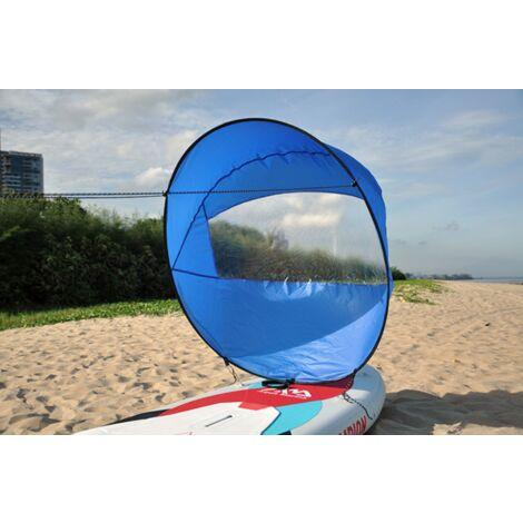 """IloveMilan Voile de vent de 42 """", pagaie de vent de voile de kayak pliable, pour kayaks, canoës, bateaux gonflables, planche à pagaie Voile de portant pour kayak, bleu, 108x108 CM"""