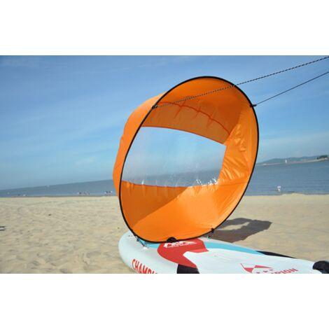 """IloveMilan Voile de vent de 42 """", pagaie de vent de voile de kayak pliable, pour kayaks, canoës, bateaux gonflables, planche à pagaie Voile de portant pour kayak, Orange, 108x108 CM"""