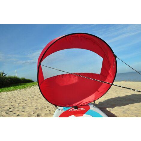 """IloveMilan Voile de vent de 42 """", pagaie de vent de voile de kayak pliable, pour kayaks, canoës, bateaux gonflables, planche à pagaie Voile de portant pour kayak, rouge, 108x108 CM"""