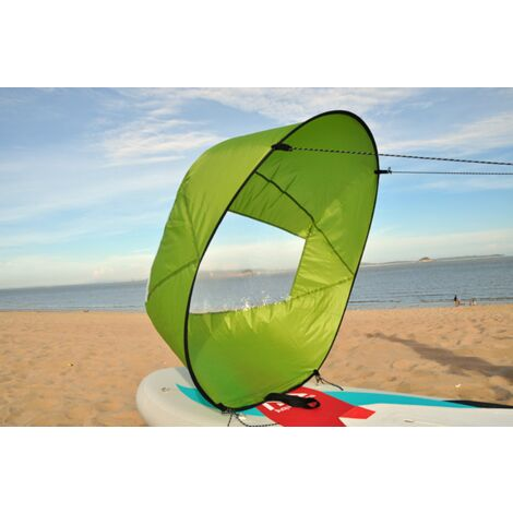 """IloveMilan Voile de vent de 42 """", pagaie de vent de voile de kayak pliable, pour kayaks, canoës, bateaux gonflables, planche à pagaie Voile de portant pour kayak, vert, 108x108 CM"""