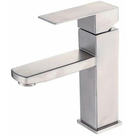 Ilovemono 304 robinet en acier inoxydable salle de bains robinet d'eau chaude et froide robinet de lavabo salle de bain sous le robinet de lavabo (A)