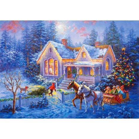 Ilovemono 5D peinture au diamant scène de neige de Noël cabane pleine de broderie au diamant 5D peinture au diamant (40 * 30 n ° A0152)