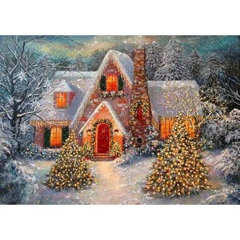 Ilovemono 5D peinture au diamant scène de neige de Noël cabane pleine de broderie au diamant 5D peinture au diamant (40 * 30 n ° A0154)
