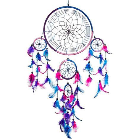 Ilovemono ATTRAPEUR DE RÊVES, Grand Attrape rêve Bleu Roi, Rose, Violet Dreamcatcher à Perles & à Plumes Fait Main - Capteur de Rêves Multicolore, Artisanal