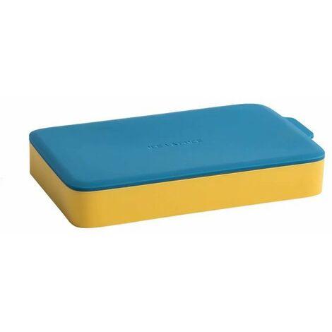 Ilovemono Bac à glaçons en silicone avec couvercle pour faire du hockey sur glace fait maison petit moule à glaçons réfrigérateur à congélateur rapide (jaune bleu)
