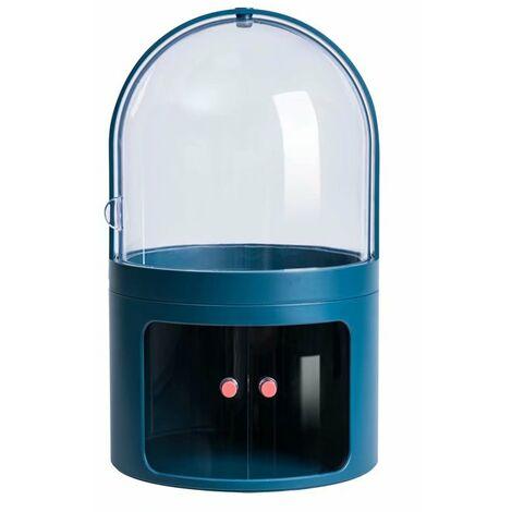 Ilovemono Boîte de rangement cosmétique Coiffeuse transparente anti-poussière avec couvercle Bijoux Boîte cosmétique de bureau Boîte de finition pour produit de soins de la peau (bleu foncé)