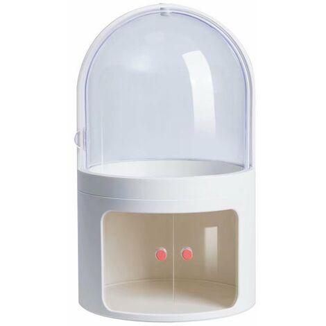 Ilovemono Boîte de rangement cosmétique Coiffeuse transparente anti-poussière avec couvercle Boîte à cosmétiques Boîte de finition pour produits de soins de la peau de bureau (blanc cassé)