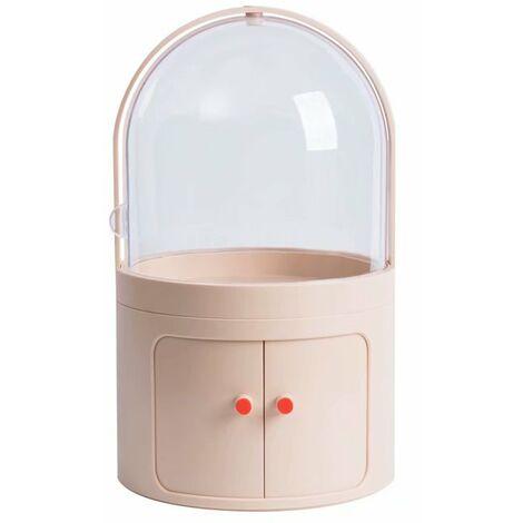 Ilovemono Boîte de rangement cosmétique Coiffeuse transparente anti-poussière avec couvercle Boîte à cosmétiques Boîte de finition pour produits de soins de la peau de bureau (couleur chair claire)