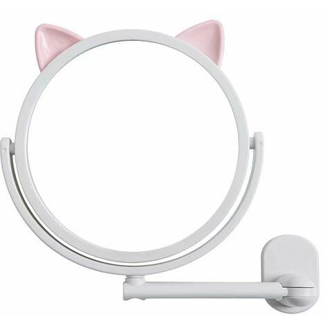 Ilovemono Dessin animé non marquant autocollant miroir mur d'aspiration poinçonnage gratuit maquillage miroir salle de bain miroir rond miroir télescopique, blanc