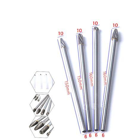 Ilovemono Ensemble de 4 pièces 150-160mm tête de meulage en acier au tungstène lime rotative en carbure de tungstène tête de meulage en acier au tungstène A